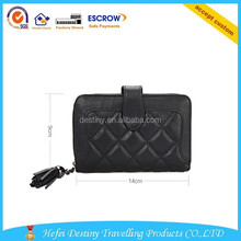 hot sale newest design sheepskin black women purse with snap-fastener