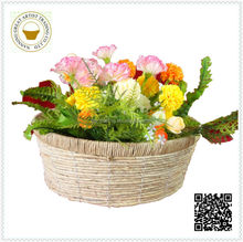2015 New coming christmas straw home decoration pot in round shape yellow color