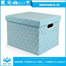 Multipurpose Custom Printed Polka Dot Paper Storage Box For Girls
