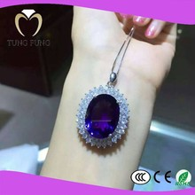 Factory supply 925 silver natural Amethyst pendant for best friend
