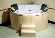 Three persons outdoor bathtub, wood skirt hot tub, massage bathtubs.