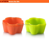 standard size silicone flower shaped baking cups, cupcake mold, muffin mold