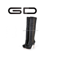 GD lady party dresses shoes sexy platform women stiletto high heel knee white boots