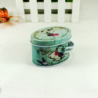 food safe small ellipse handle metal tin box for sale