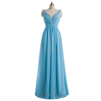 Free shipping beaded sequined ruched cheap 2015 floor length sky blue bridesmaid dress CWFabb2105