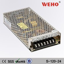 CE ROHS approved 120W 5 amp S-120-24 24volt ac dc switch power suppliers