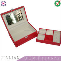 Factory Customized Two-layer Lint Leather Jewelry Packaging Box Organizer Display Storage Case with Mirror and Lock