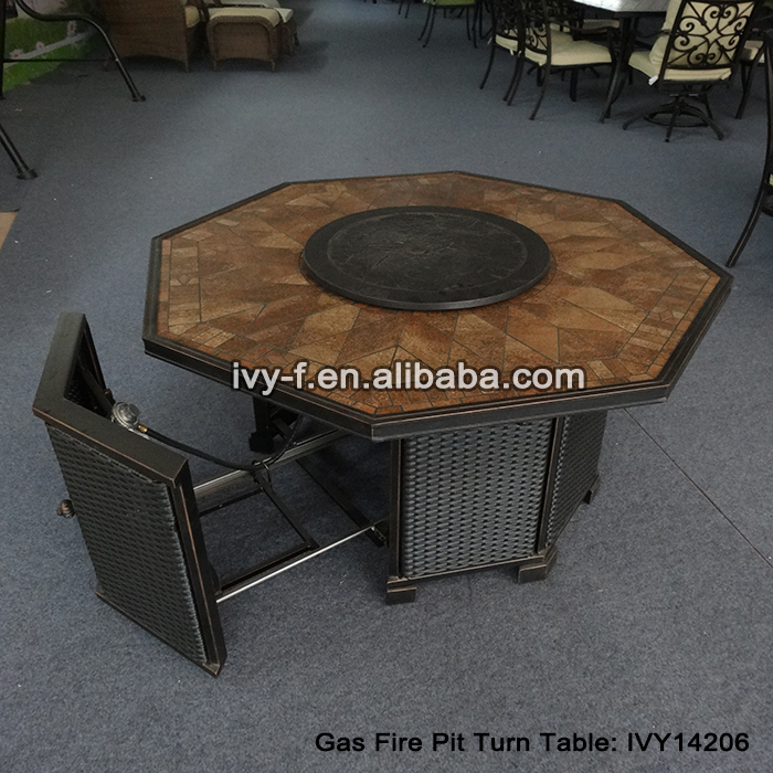 Outdoor Octangle Table Gas Fire Pit Turn Table In Cast