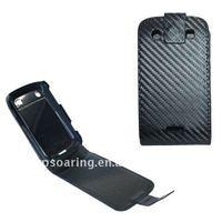 Fiber carbon flip leather case pouch for blackberry 9900,9930