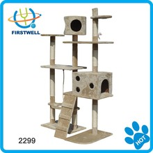 Tall pet toys cat tree cat scratcher with hanging sisal rope