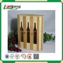 Fashion wooden storage 3 bottles wine box