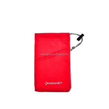 plastic clip single drawstring smartphone microfiber pouch