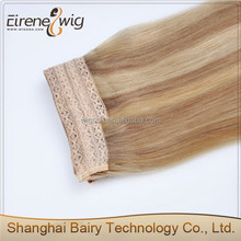 Cheap Indian temple hair 100% remy flip in human hair extension with lace
