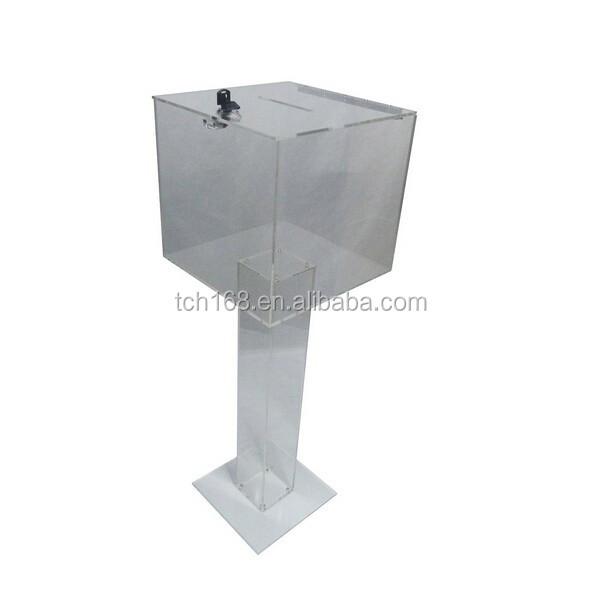Clear Plexiglass Floor Standing Tithing Box fering