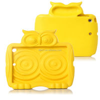 cute owl design silicone kids shockproof handle case for ipad mini 1 2 3, for ipad silicone handle case