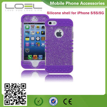 Protective Case Purple Silicone Cover with Clear Sparkly Glitter Design custom cell phone cover case for nokia lumia 625
