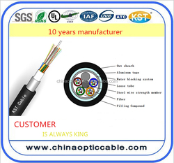 china price steel wire strength member 24-144 core outdoor fiber optic cable GYTA