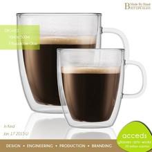 LOW MOQ! Bulk Coffee Mugs, Double-Wall Pyrex Glass Custom Coffee Mug