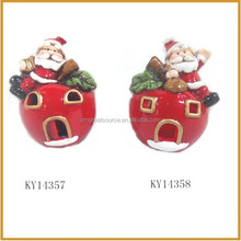 ceramic christmas red apple with santa claus decorative for sale