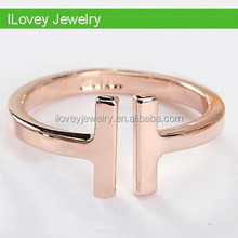 wholesale Korea fashion silver double T knuckle ring, double line rings for girl