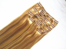 2015 HotSelling!!! Double Drawn Thick Ends full head clip in hair extensions