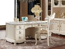de estilo francés de la escritura de escritorio de lujo antiguo escritorio con silla en color blanco