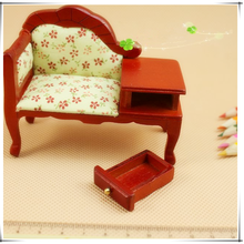 1/12 scale new arrivals mini wooden coffee sofa with drawers dollhouse miniature furniture