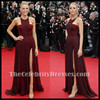 Celebrity Inspired Blake Lively 2014 Red Carpet Burgundy Women's Fashion Prom Dress With High Slit For Evening Party