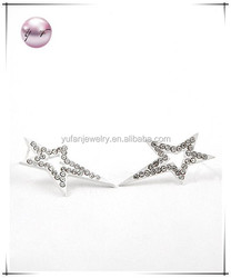 White / Crystal / Post / Button / Star / Earring Set
