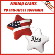 Unique design color printed soft foam star pu stress toy
