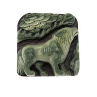 "2.48"" hand Carved Ribbon Jasper Jade wild Animal Wolf gemstone Pendant"