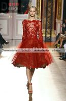 Zuhair murad 2013 collect light red long sleeves lace knee length evening dress AP008