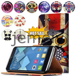 New Printed Magnetic Leather Slot Wallet Flip Stand Skin Case for Alcatel One Touch Idol Alpha