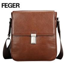 Feger Premium Cow Leather Unisex Messenger Bag Lock vintage Shoulder Bag
