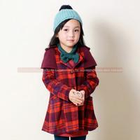 2014 New Design Children Girl Autumn Winter Long Sleeve Thicken Corduroy Printed Plaid Coat, Kids Outdoor Jacket Age 3-8X