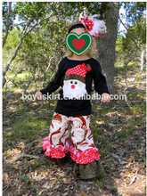 wholesale hot Christmas outfits girls black shirt and ruffle pants boutique girl clothing sets Christmas santa top and pant sets