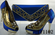 TY1102 Royal Blue Wedding party clutch bag and bag for women matching italian shoes and bag set