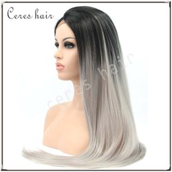 100% premium human hair blend wig heat resistant lace front wig traight gray ombre wig dark root