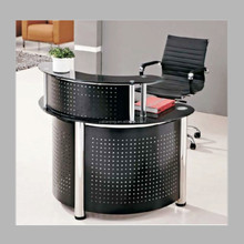 modern semi-circle metal tempered glass reception desk
