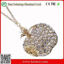4GB fruit shaped jewelry diamond usb flash drive with neck strap