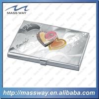 high grade novelty metal heart shape credit name card holder