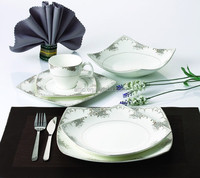 24pcs Luxury Fine Bone China Square Turkish Porcelain Dinnerware Sets with Royal, Elegant Design, for 4 people
