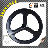 700c 100% full carbon 3 spokes carbon bicycle wheels road hub fixed fear hub front wheel and rear tri spoks wheels