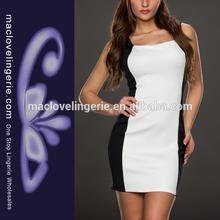 Ml17992 2014 bicolor ackline sexy mini vestido& vestidos casuales