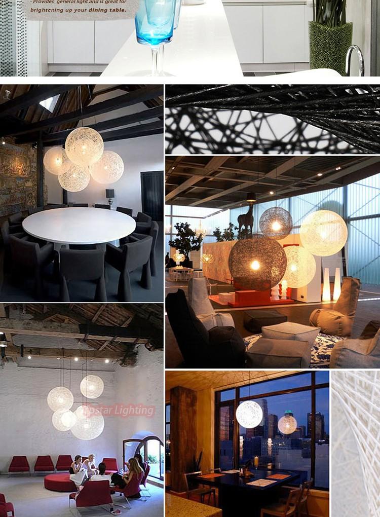 Moderne métal et en osier pendentif boule lampe créative