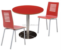 classic red round wood top metal base dining table for coffee shop /high back wood dining chair