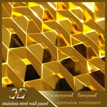 Stainless Steel 3D Embossed Design Wall Paneling Interior