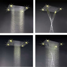 Remote control 4 function led light rain shower head embeded ceiling shower mixer set
