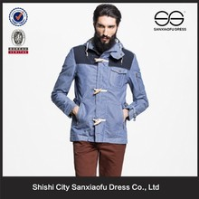 Wholesale Custom Light Blue Toggle Duffle Denim Jacket With Hood