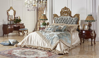 Luxury Crown Shaped Royal Upholstery Bed With Night Stand, Noble Button Tufted Golden Bed Set,Wood Carving Bedroom Furniture Set